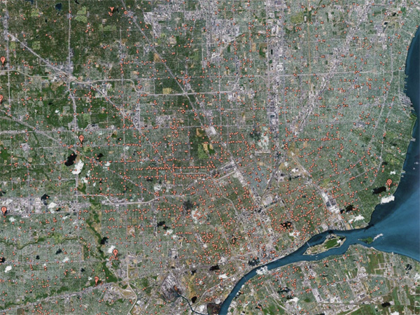 Despite enormous population decline there is a fantastic number of churches in Detroit, seen here from Google Earth. Every red dot represents a church.