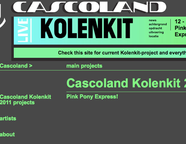 From 12 - 19 September the Pink Pony Express will spend a week in the Kolenkit. <br>This is the beginning of a year long project together with Cascoland!